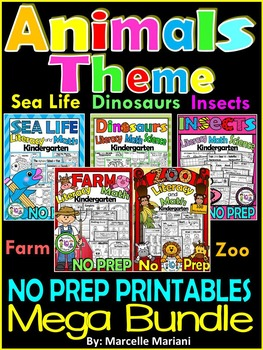 Farm, Insects,Zoo, Sea Life & Dinosaurs NO PREP Printables BUNDLE (CCSS)