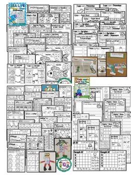 Farm, Insects, Zoo, Sea Life and Dinosaurs NO PREP worksheets BUNDLE (CCSS)