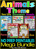 PHONICS AND MATH WORKSHEETS- Farm, Insects, Zoo, insects, dinosaurs BUNDLE