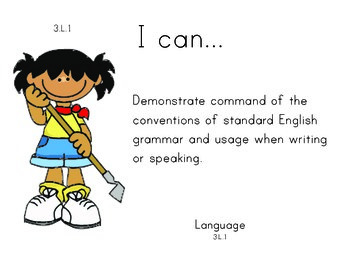 Farm Kids 3rd grade English Common core standards posters