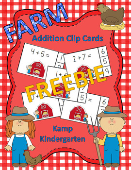 Farm Kids Addition Math Center Sums to 10 FREEBIE