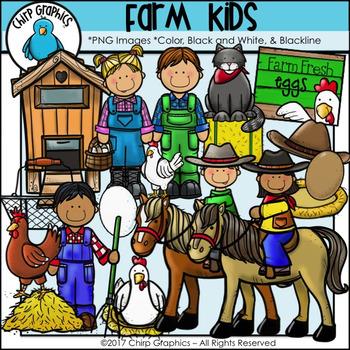 Farm Kids Clip Art Set - Chirp Graphics