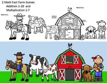 Farm Kids Math Fact Fluency Addition or Multiplication CRAFT