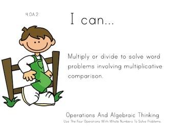 Farm Kids Theme 4th grade math Common Core Posters fourth Grade Standards