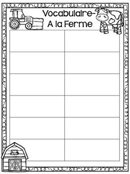 Farm Language and Math Activities- FRENCH