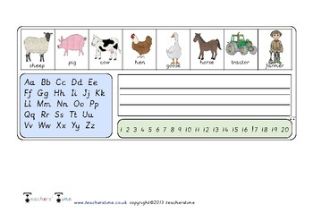 Farm Letter and Number Formation Strip