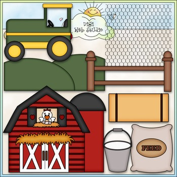 Farm Life Clip Art - Farming Clip Art - Tractor - Barn - CU Clip Art & B&W