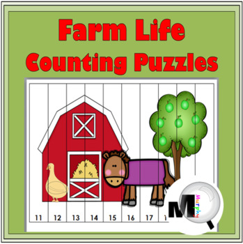 Farm Theme - Farm Animals Counting Puzzles - Numbers 1-120