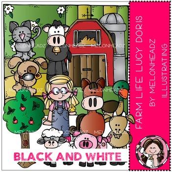 Farm Life clip art - Lucy Doris - BLACK AND WHITE- by Melonheadz