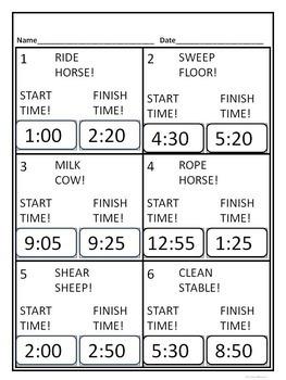 "Telling and Elapsed Time ""Farm Life Bundle"" (Worksheets)"
