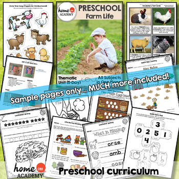 Farm Life - Week 18 Age 4 Preschool Homeschool Curriculum by Home CEO