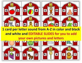 Farm Literacy Center Activity- Farm beginning sounds Literacy Center- Clip it