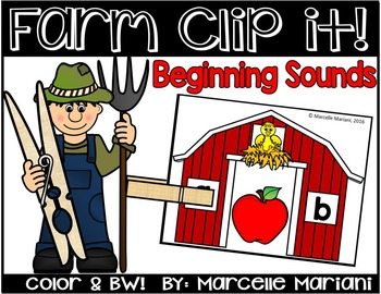 Beginning SOUNDS Literacy Center Activity-Farm theme literacy center- Clip it