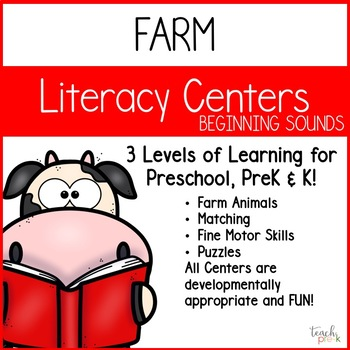 Farm Literacy Centers:  Beginning Sounds for preschool, PreK, K & Homeschool