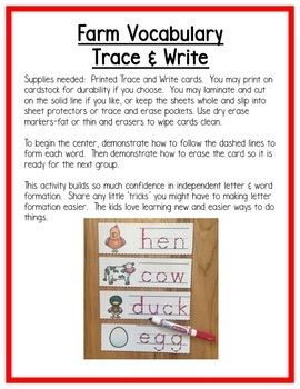 Farm Literacy Centers: Writing for Preschool, PreK, K & Homeschool