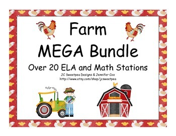 Farm MEGA Bundle: Over 20 ELA and Math Stations