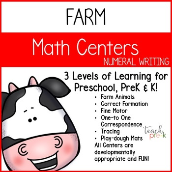 Farm Math Centers: Numeral writing for preschool, PreK, K & Homeschool