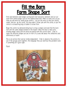 Farm Math Centers: Shapes for Preschool, PreK, K & Homeschool