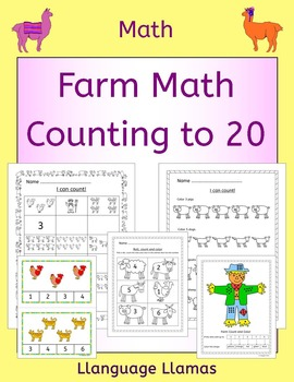 Counting to 20 worksheets, activities and task cards - farm theme