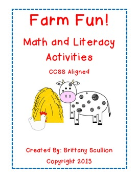 Farm Math & Literacy Activities, CCSS Aligned
