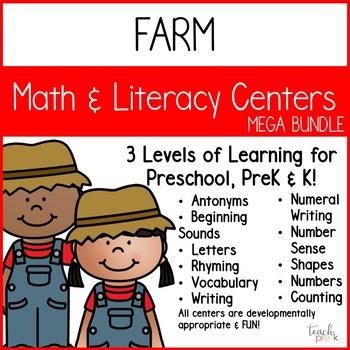 Farm Math  & Literacy Centers Mega-Bundle for Preschool, PreK, K & Homeschool