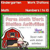 Farm Math Work Station Activities