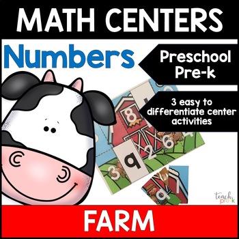 Farm Math Centers: Numbers for Preschool, PreK, K & Homeschool!