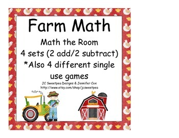Farm: Math the Room Addition and Subtraction Plus 4 Games