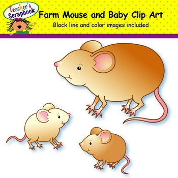 Rust Farm Mouse and Baby Clip Art