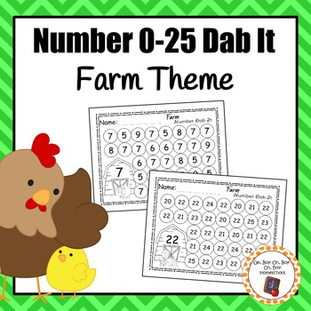 Farm Number (0-25) Dab It Worksheets