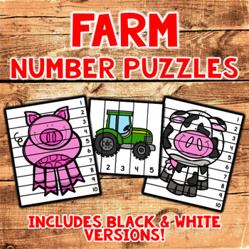 Farm Number Sequencing Puzzles - Set of 10