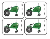 Farm Number Word Clip Cards