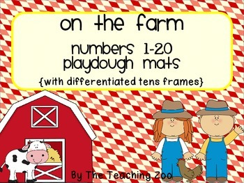 Farm Numbers 1-20 Playdough mats  {differentiated 10s frames}