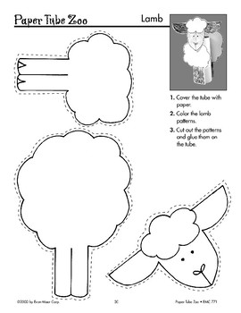 Farm Paper Tube Animals: Cow, Lamb, Goat, Chicken, Pony