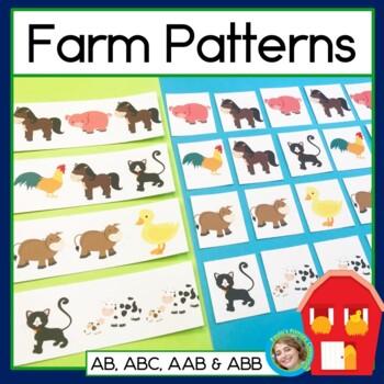 Farm Patterns: Math Center with AB, ABC, AAB & ABB Patterns