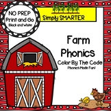 NO PREP Farm Themed Color by the Code Phonics Activities