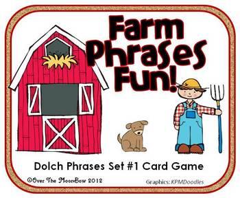 Farm Phrases Fun - Dolch Phrases Card Game