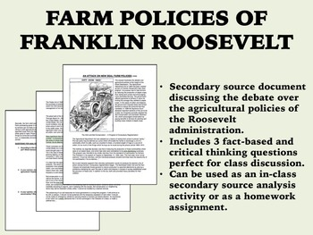 Farm Policies of FDR reading - New Deal - Great Depression - USH/APUSH