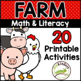 Farm Printable Math & Literacy Activities for Pre-K, Preschool, Kindergarten