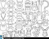 Farm Props Outline Digital Clip Art Personal Commercial Use 75 images cod213