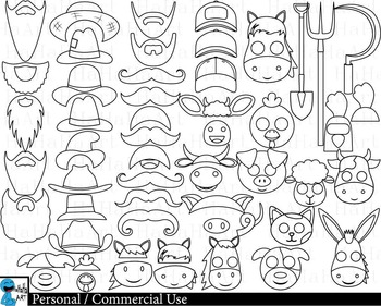 Farm Props Outline Digital Clip Art Personal Commercial Use 75 images cod213
