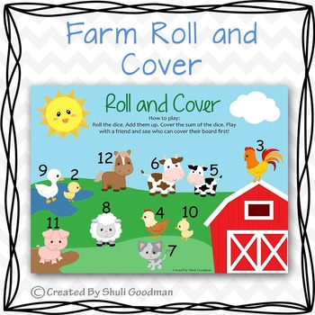 Farm Roll and Cover game board