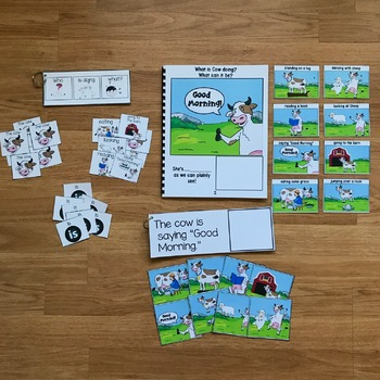"""Farm Sentence Builder Book:  """"What Is Cow Doing?"""""""
