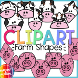 Farm Shapes Clipart - Spring Clipart - Moveable! - Pigs Cows