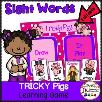 Farm Sight Word Game- Tricky Pigs! {EDITABLE}