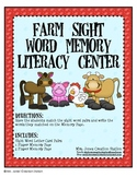 Farm Sight Word Memory Literacy Center