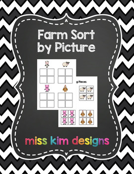 Farm Sort by Picture File Folder Game for Early Childhood