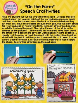 Speech Language Farm Therapy Craft Activity