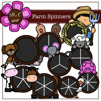 Farm Spinners Digital Clipart (color and black&white)