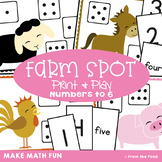 Subitizing Game - Farm Spot - Math Center  - Numbers/Dots to 6